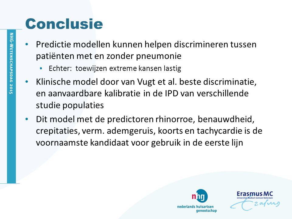 Conclusie Predictie modellen kunnen helpen discrimineren tussen patiënten met en zonder pneumonie Echter: toewijzen extreme kansen lastig Klinische mo