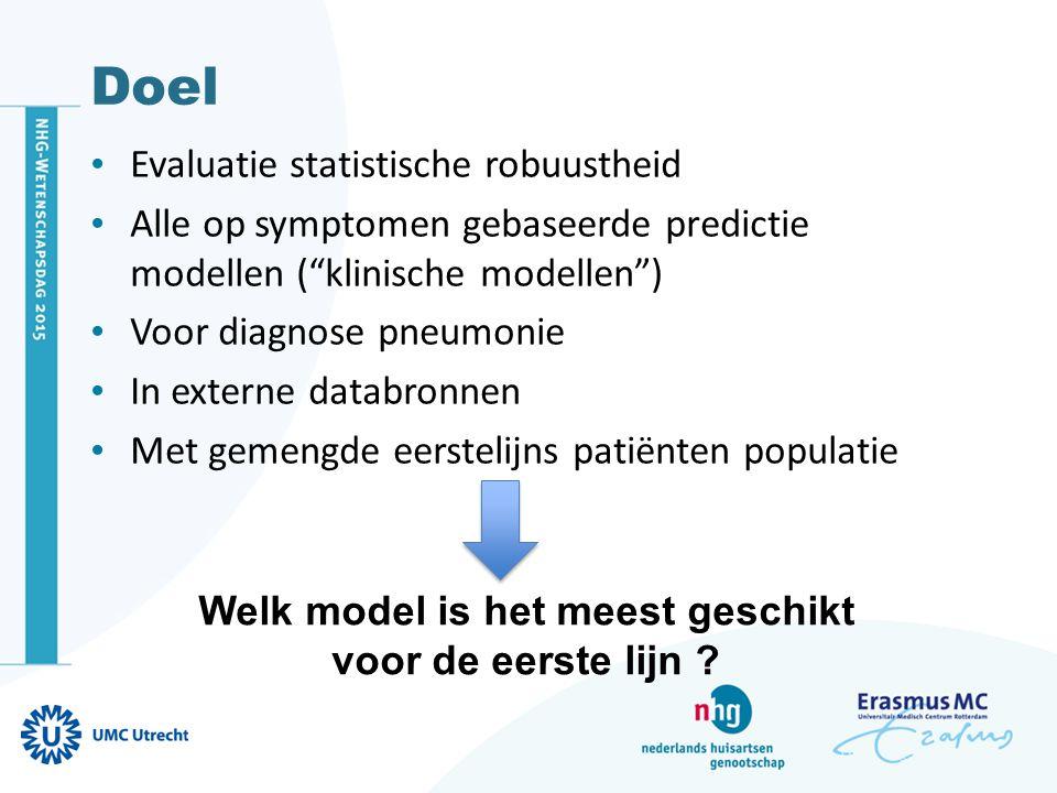 """Doel Evaluatie statistische robuustheid Alle op symptomen gebaseerde predictie modellen (""""klinische modellen"""") Voor diagnose pneumonie In externe data"""