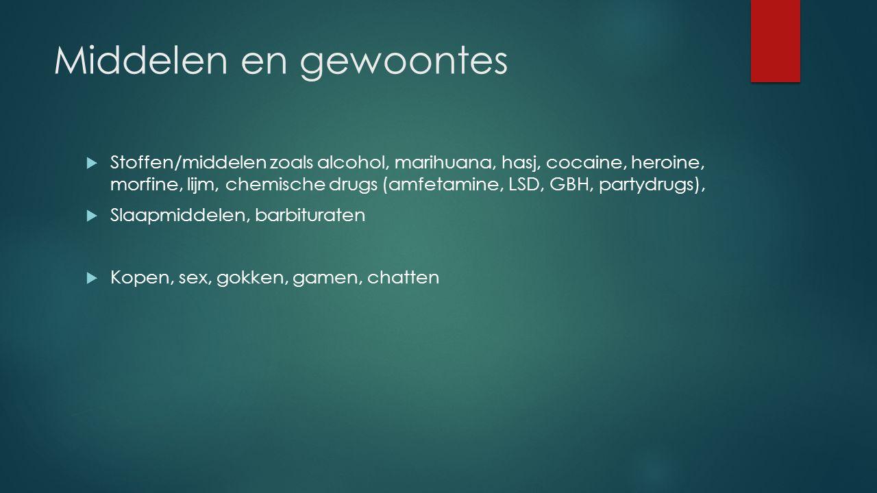 Middelen en gewoontes  Stoffen/middelen zoals alcohol, marihuana, hasj, cocaine, heroine, morfine, lijm, chemische drugs (amfetamine, LSD, GBH, party