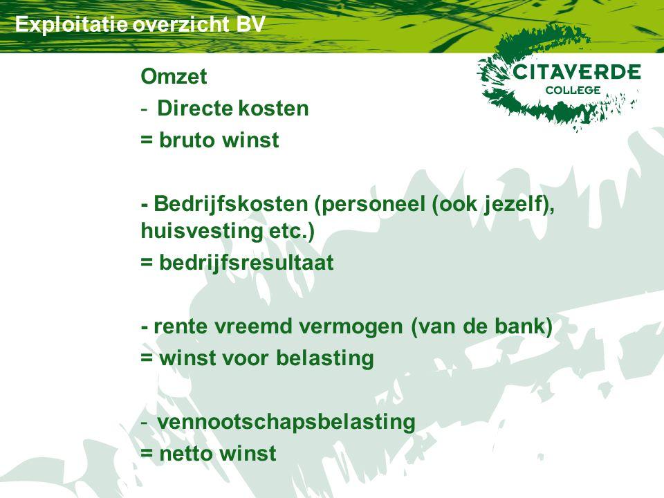 Exploitatie overzicht BV Omzet -Directe kosten = bruto winst - Bedrijfskosten (personeel (ook jezelf), huisvesting etc.) = bedrijfsresultaat - rente vreemd vermogen (van de bank) = winst voor belasting -vennootschapsbelasting = netto winst