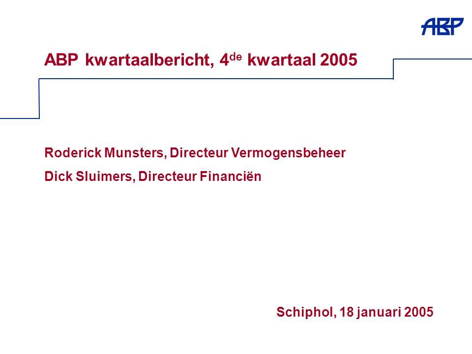 1 ABP kwartaalbericht, 4 de kwartaal 2005 Roderick Munsters, Directeur Vermogensbeheer Dick Sluimers, Directeur Financiën Schiphol, 18 januari 2005