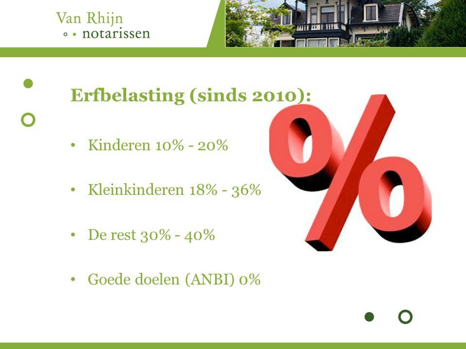 Erfbelasting (sinds 2010): Kinderen 10% - 20% Kleinkinderen 18% - 36% De rest 30% - 40% Goede doelen (ANBI) 0%