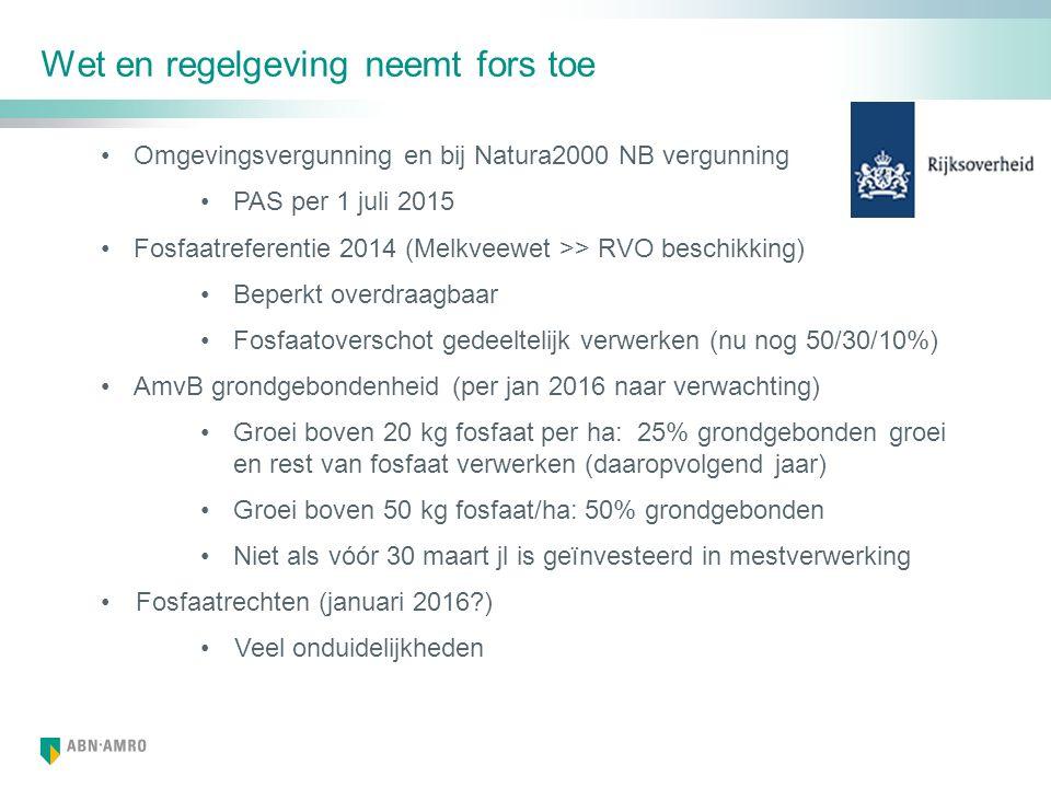 Wet en regelgeving neemt fors toe Omgevingsvergunning en bij Natura2000 NB vergunning PAS per 1 juli 2015 Fosfaatreferentie 2014 (Melkveewet >> RVO beschikking) Beperkt overdraagbaar Fosfaatoverschot gedeeltelijk verwerken (nu nog 50/30/10%) AmvB grondgebondenheid (per jan 2016 naar verwachting) Groei boven 20 kg fosfaat per ha: 25% grondgebonden groei en rest van fosfaat verwerken (daaropvolgend jaar) Groei boven 50 kg fosfaat/ha: 50% grondgebonden Niet als vóór 30 maart jl is geïnvesteerd in mestverwerking Fosfaatrechten (januari 2016 ) Veel onduidelijkheden