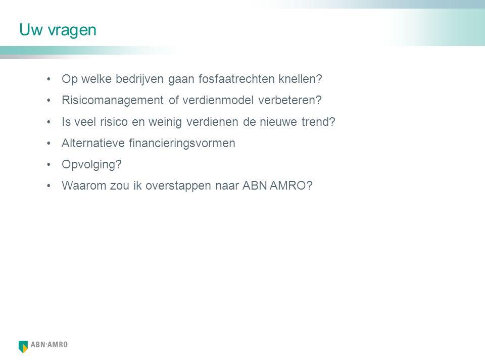 Agrarische markt is van groot belang voor ABN AMRO Leeuwarden Assen Zwolle Apeldoorn Amersfoort 's-Hertogenbosch Helmond Goes Naaldwijk Hoofddorp Alkmaar 11 Agriteams Internationale bedrijven Grondstoffen