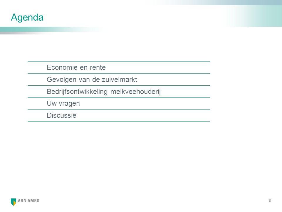 Agenda Economie en rente Gevolgen van de zuivelmarkt Bedrijfsontwikkeling melkveehouderij Uw vragen Discussie 6