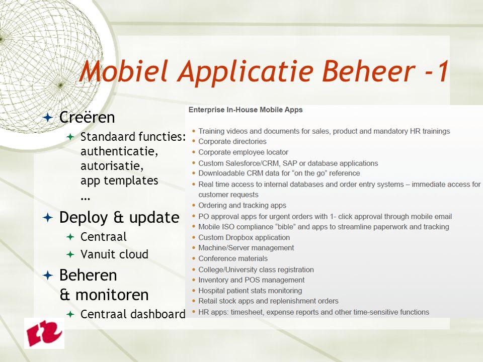  Creëren  Standaard functies: authenticatie, autorisatie, app templates …  Deploy & update  Centraal  Vanuit cloud  Beheren & monitoren  Centraal dashboard Mobiel Applicatie Beheer -1