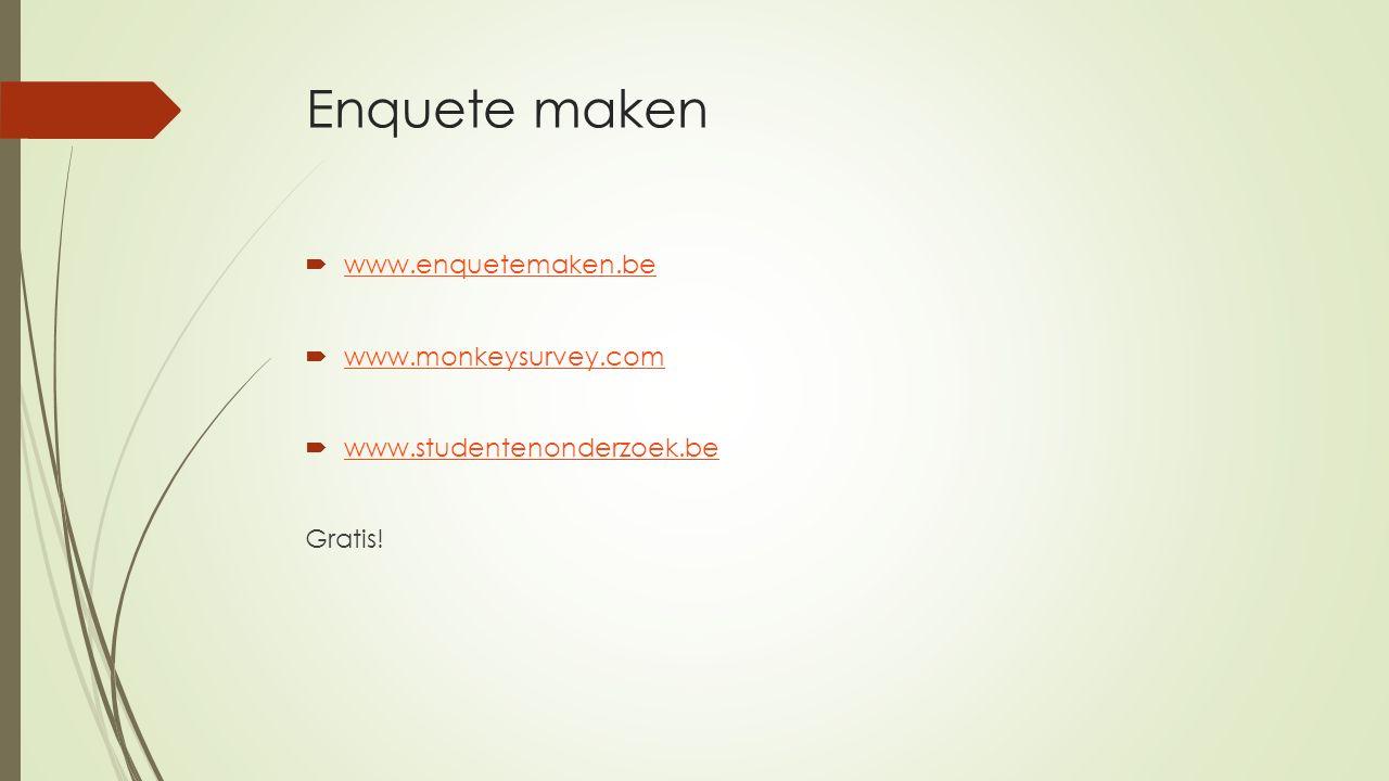 Enquete maken  www.enquetemaken.be www.enquetemaken.be  www.monkeysurvey.com www.monkeysurvey.com  www.studentenonderzoek.be www.studentenonderzoek