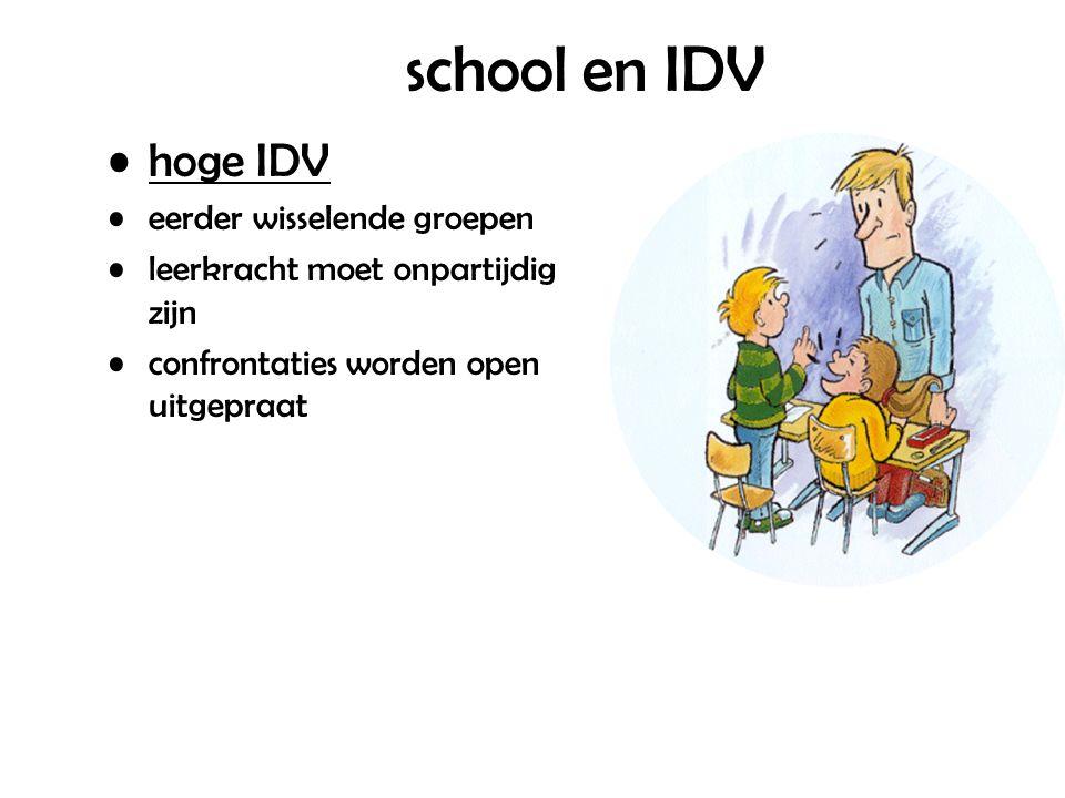 school en IDV hoge IDV eerder wisselende groepen leerkracht moet onpartijdig zijn confrontaties worden open uitgepraat