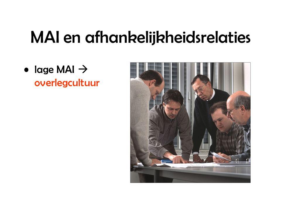 MAI en afhankelijkheidsrelaties lage MAI  overlegcultuur