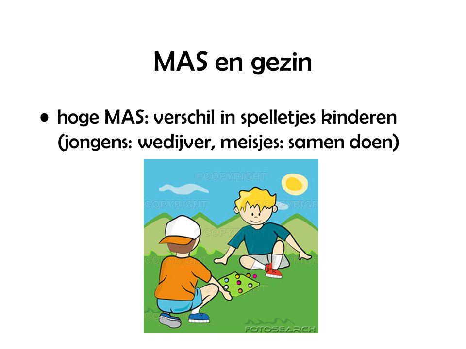 MAS en gezin hoge MAS: verschil in spelletjes kinderen (jongens: wedijver, meisjes: samen doen)