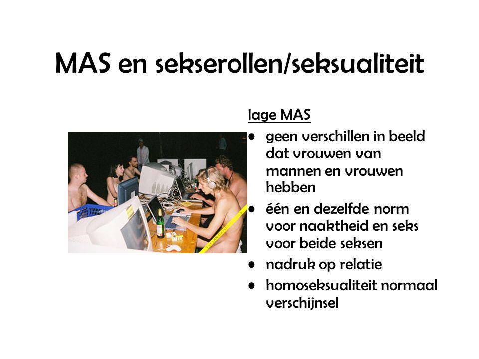 MAS en sekserollen/seksualiteit lage MAS geen verschillen in beeld dat vrouwen van mannen en vrouwen hebben één en dezelfde norm voor naaktheid en seks voor beide seksen nadruk op relatie homoseksualiteit normaal verschijnsel