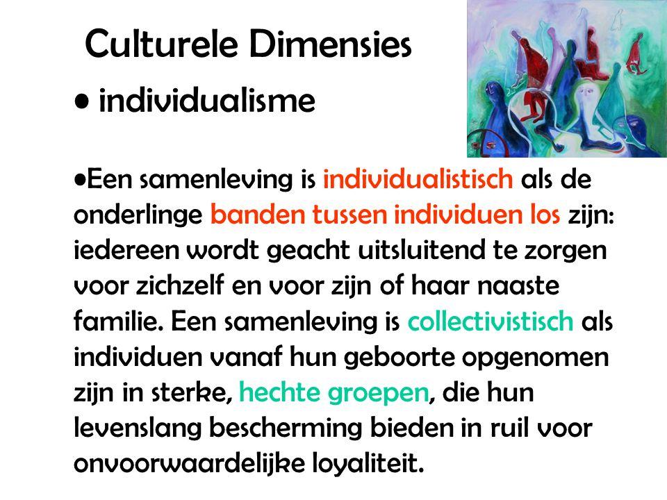 Culturele Dimensies individualisme Een samenleving is individualistisch als de onderlinge banden tussen individuen los zijn: iedereen wordt geacht uitsluitend te zorgen voor zichzelf en voor zijn of haar naaste familie.