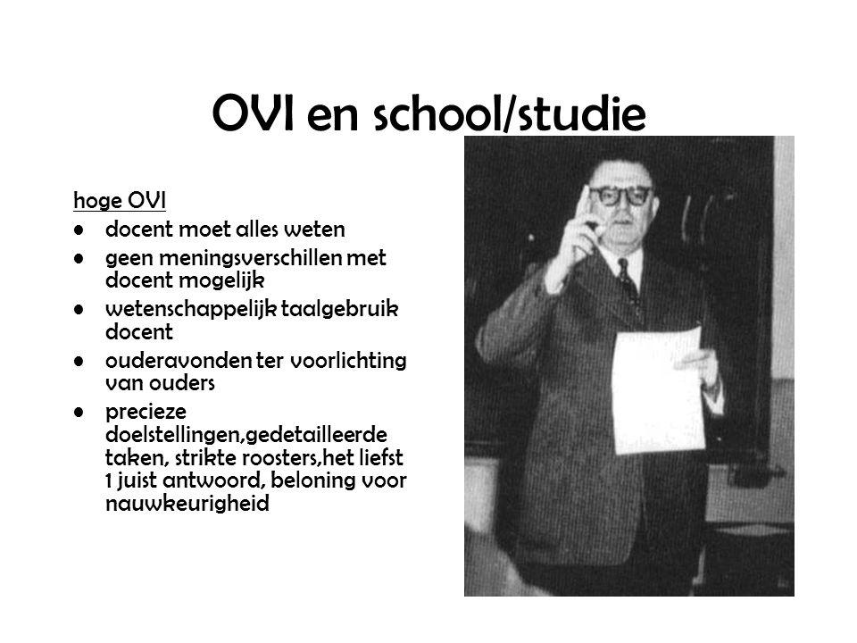 OVI en school/studie hoge OVI docent moet alles weten geen meningsverschillen met docent mogelijk wetenschappelijk taalgebruik docent ouderavonden ter voorlichting van ouders precieze doelstellingen,gedetailleerde taken, strikte roosters,het liefst 1 juist antwoord, beloning voor nauwkeurigheid