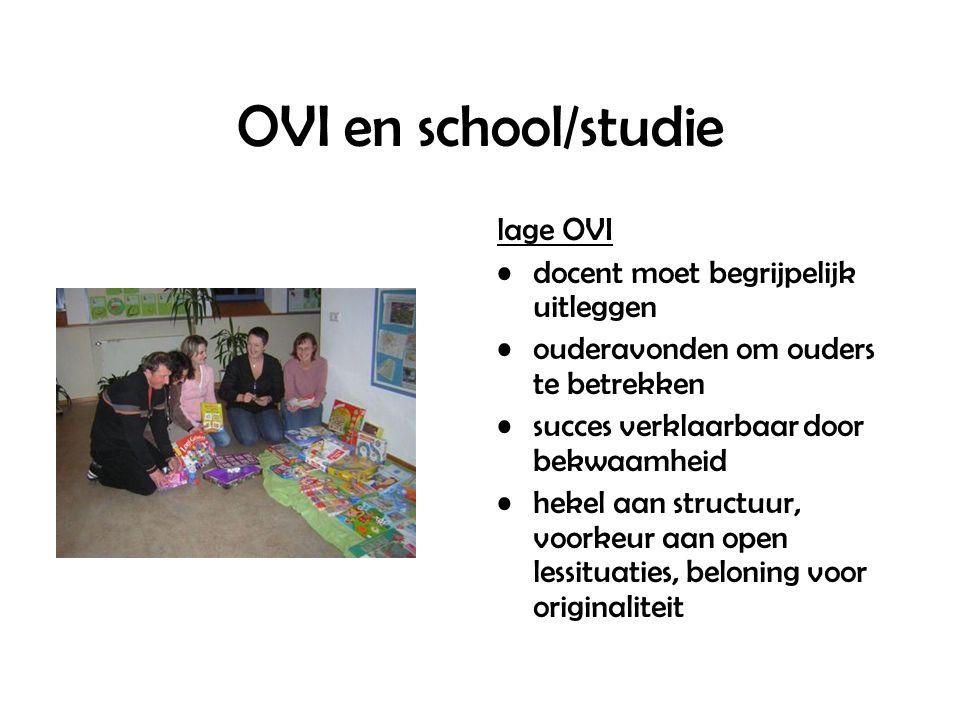 OVI en school/studie lage OVI docent moet begrijpelijk uitleggen ouderavonden om ouders te betrekken succes verklaarbaar door bekwaamheid hekel aan structuur, voorkeur aan open lessituaties, beloning voor originaliteit