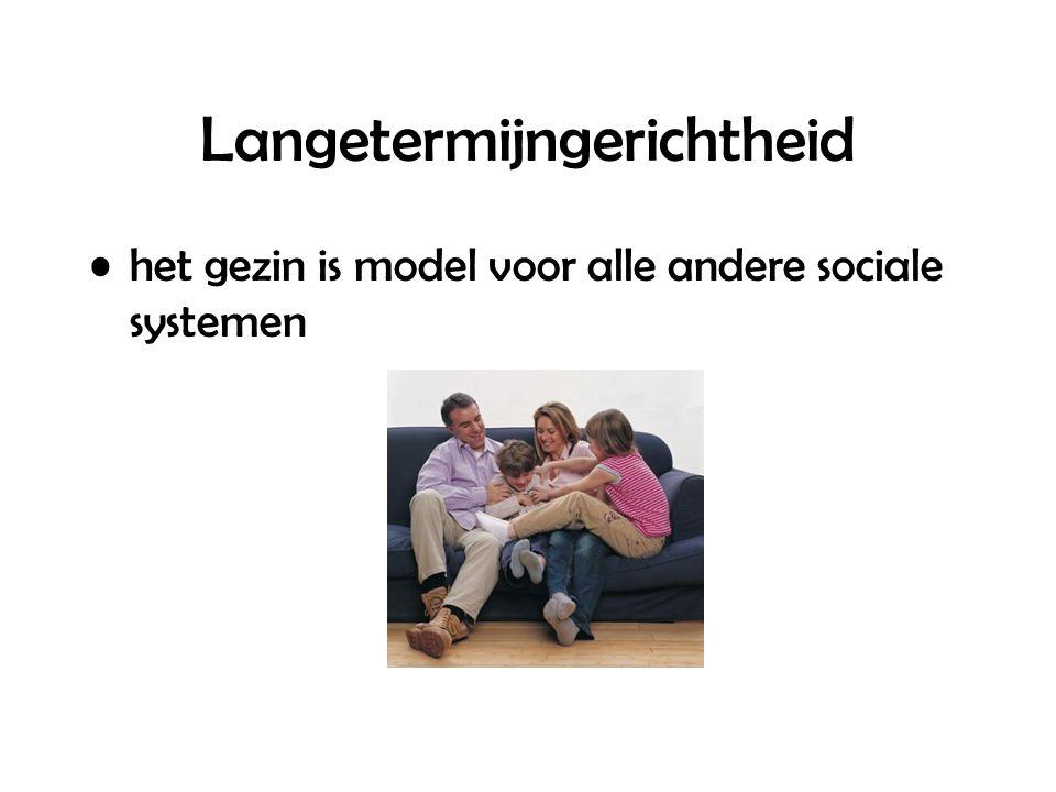 Langetermijngerichtheid het gezin is model voor alle andere sociale systemen