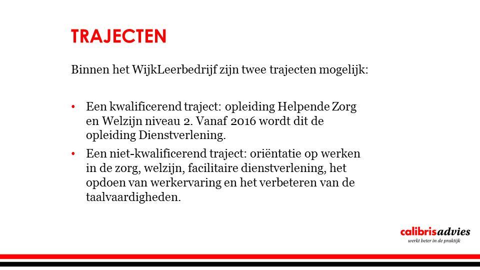 TRAJECTEN Binnen het WijkLeerbedrijf zijn twee trajecten mogelijk: Een kwalificerend traject: opleiding Helpende Zorg en Welzijn niveau 2.