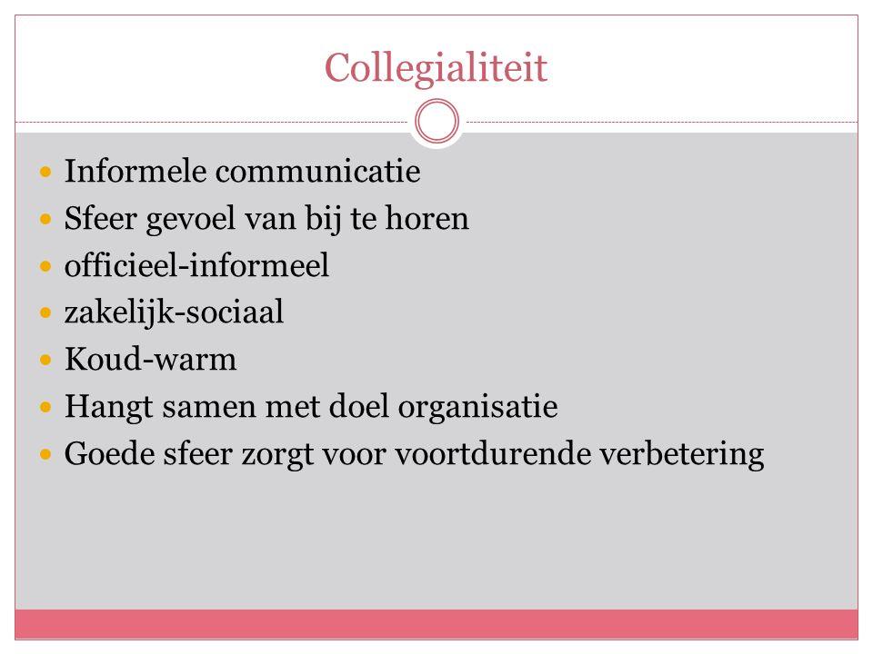 Collegialiteit Informele communicatie Sfeer gevoel van bij te horen officieel-informeel zakelijk-sociaal Koud-warm Hangt samen met doel organisatie Goede sfeer zorgt voor voortdurende verbetering
