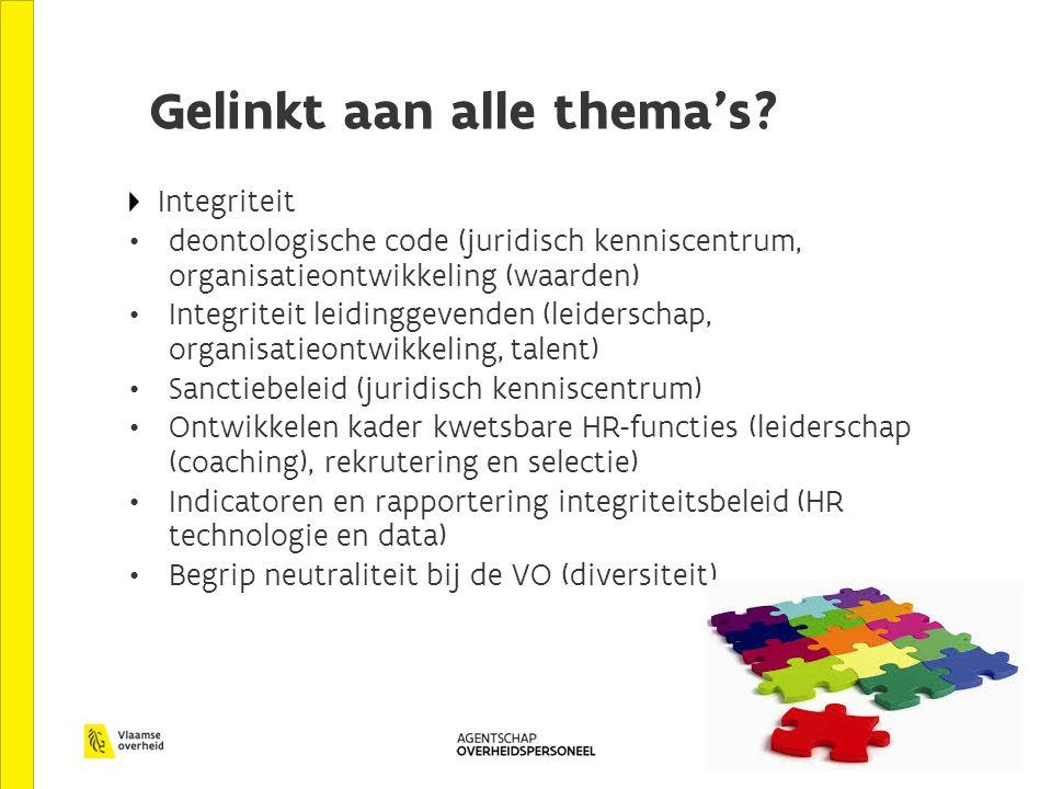 Gelinkt aan alle thema's? Integriteit deontologische code (juridisch kenniscentrum, organisatieontwikkeling (waarden) Integriteit leidinggevenden (lei