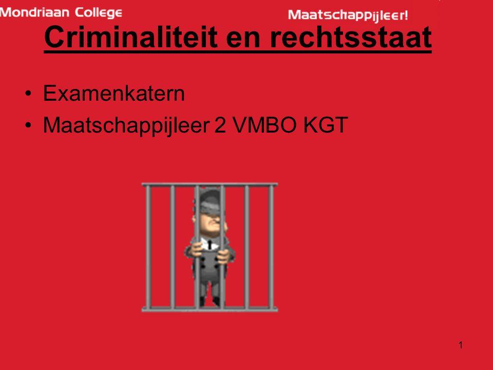 §1: Regels en rechten Criminaliteit is -tijdgebonden: -Vroeger was vreemdgaan strafbaar: sinds 1970 niet meer -Godslastering strafbaar: nu niet mere -Hacken is nu WEL strafbaar, bestond vroeger niet.