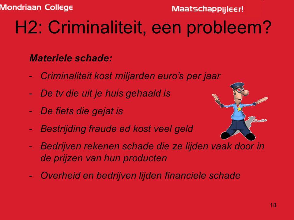 18 H2: Criminaliteit, een probleem? Materiele schade: -Criminaliteit kost miljarden euro's per jaar -De tv die uit je huis gehaald is -De fiets die ge