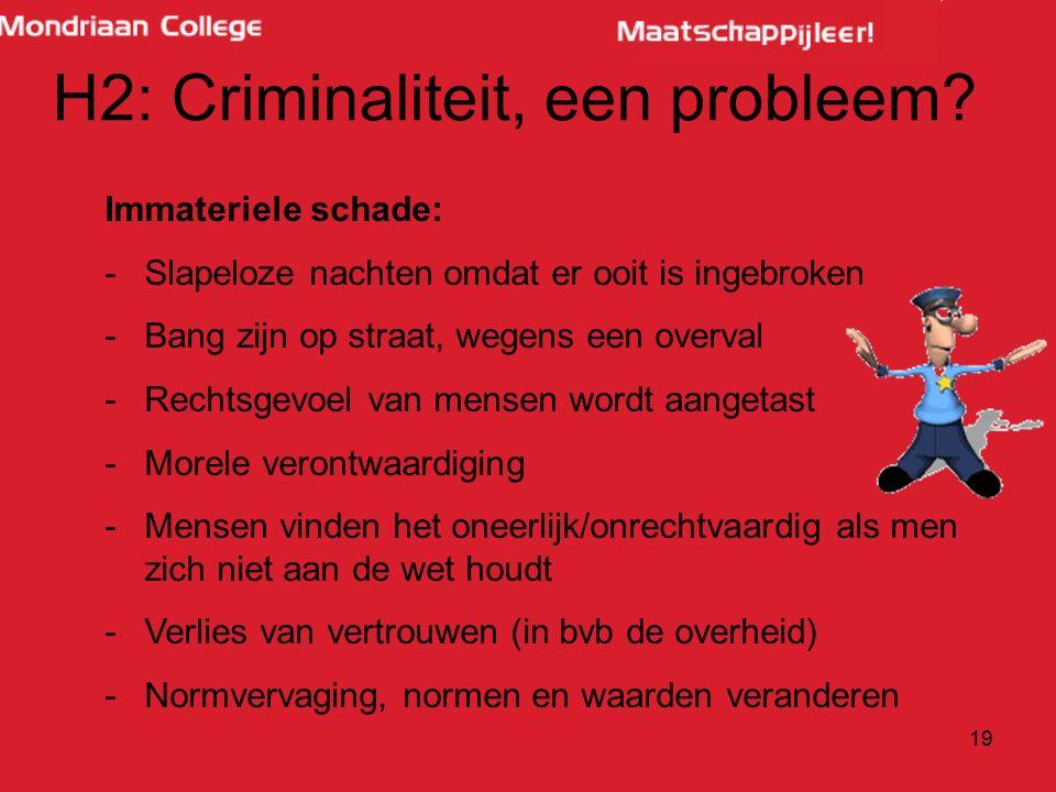 19 H2: Criminaliteit, een probleem? Immateriele schade: -Slapeloze nachten omdat er ooit is ingebroken -Bang zijn op straat, wegens een overval -Recht