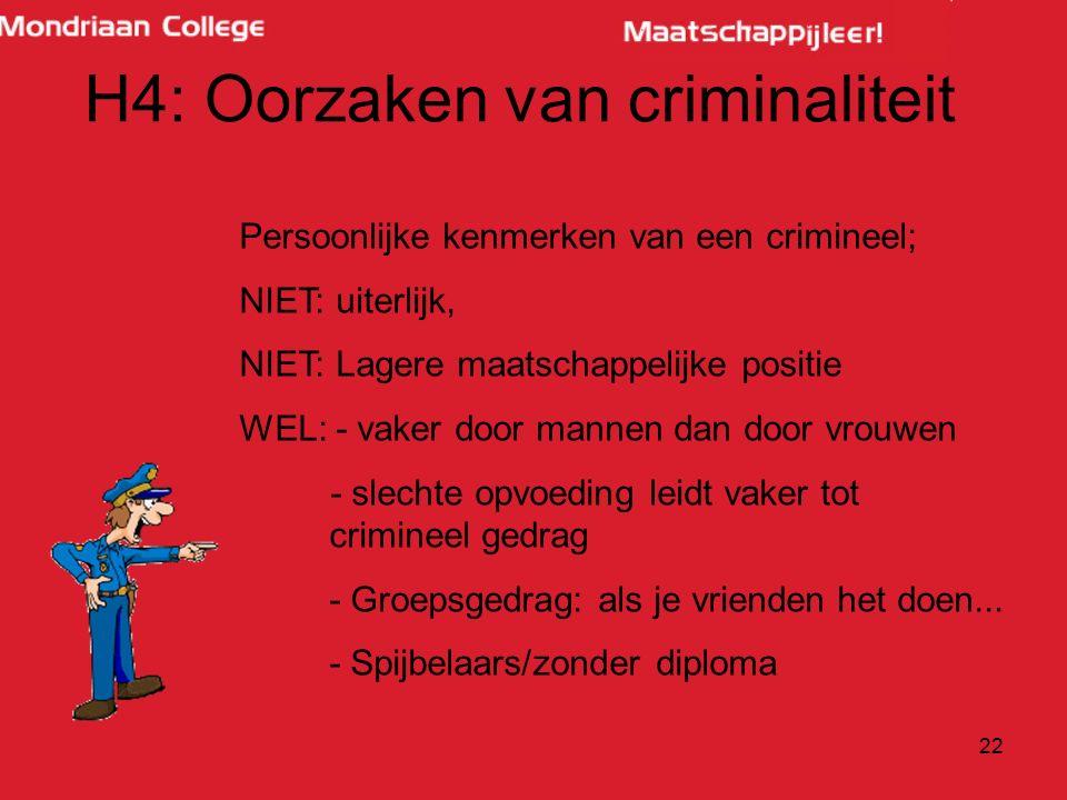 22 H4: Oorzaken van criminaliteit Persoonlijke kenmerken van een crimineel; NIET: uiterlijk, NIET: Lagere maatschappelijke positie WEL: - vaker door m