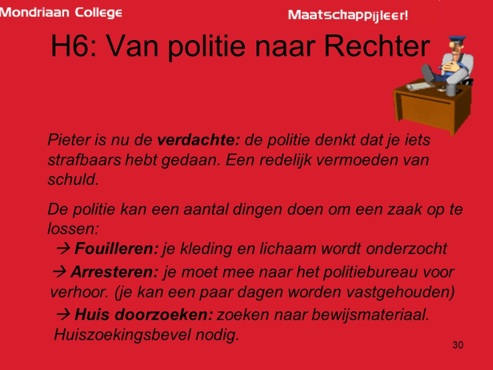 30 H6: Van politie naar Rechter Pieter is nu de verdachte: de politie denkt dat je iets strafbaars hebt gedaan. Een redelijk vermoeden van schuld. De