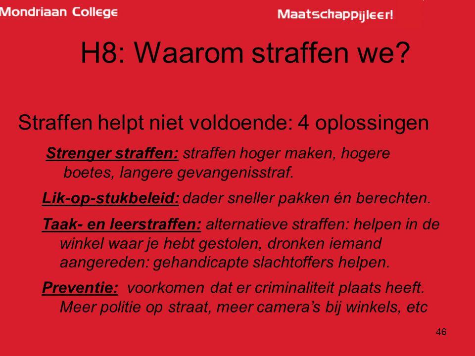 46 Taak- en leerstraffen: alternatieve straffen: helpen in de winkel waar je hebt gestolen, dronken iemand aangereden: gehandicapte slachtoffers helpen.