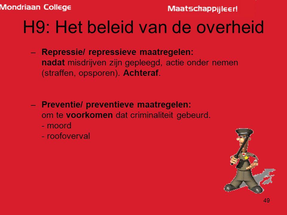 H9: Het beleid van de overheid –Repressie/ repressieve maatregelen: nadat misdrijven zijn gepleegd, actie onder nemen (straffen, opsporen).