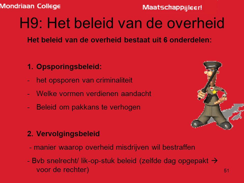 H9: Het beleid van de overheid Het beleid van de overheid bestaat uit 6 onderdelen: 1.Opsporingsbeleid: -het opsporen van criminaliteit -Welke vormen