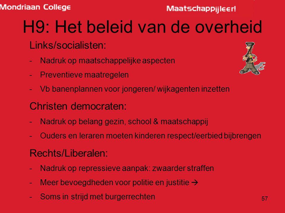 H9: Het beleid van de overheid Links/socialisten: -Nadruk op maatschappelijke aspecten -Preventieve maatregelen -Vb banenplannen voor jongeren/ wijkag