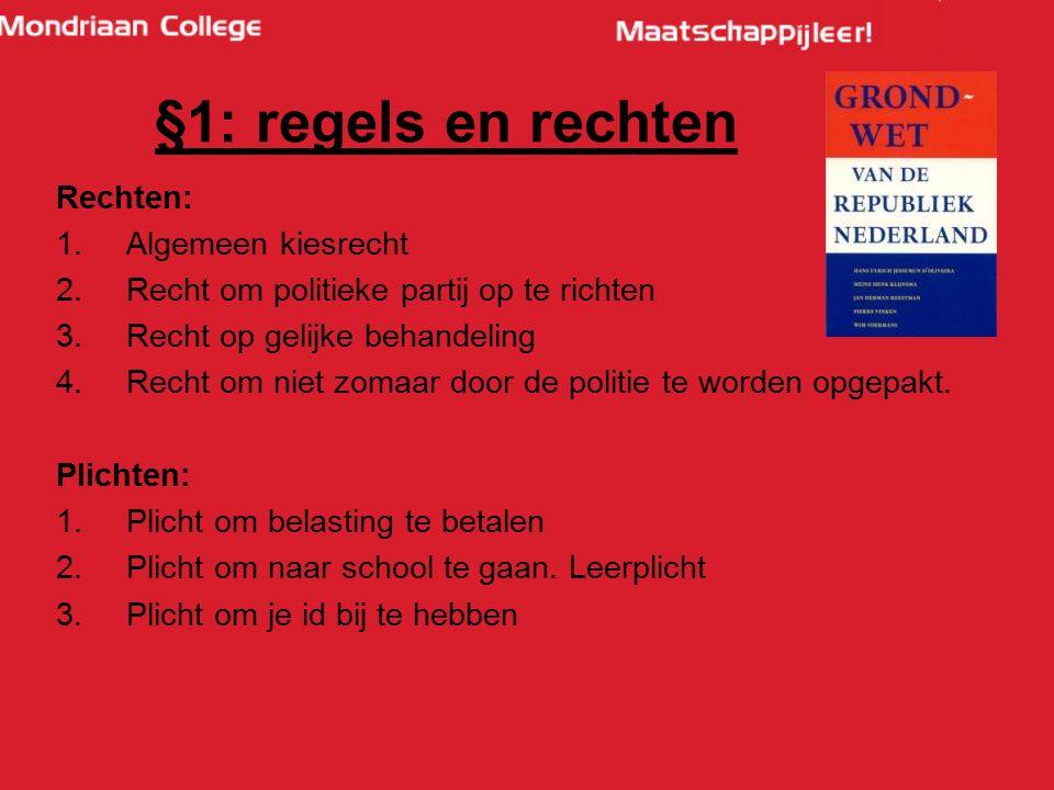 Rechten: 1.Algemeen kiesrecht 2.Recht om politieke partij op te richten 3.Recht op gelijke behandeling 4.Recht om niet zomaar door de politie te worde