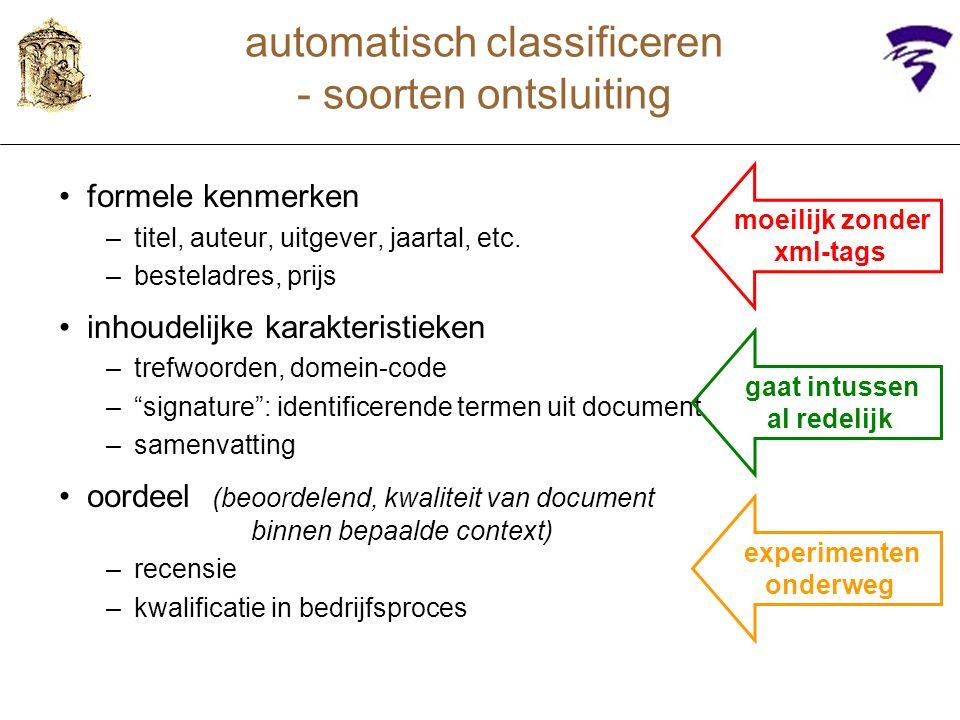"""formele kenmerken –titel, auteur, uitgever, jaartal, etc. –besteladres, prijs inhoudelijke karakteristieken –trefwoorden, domein-code –""""signature"""": id"""