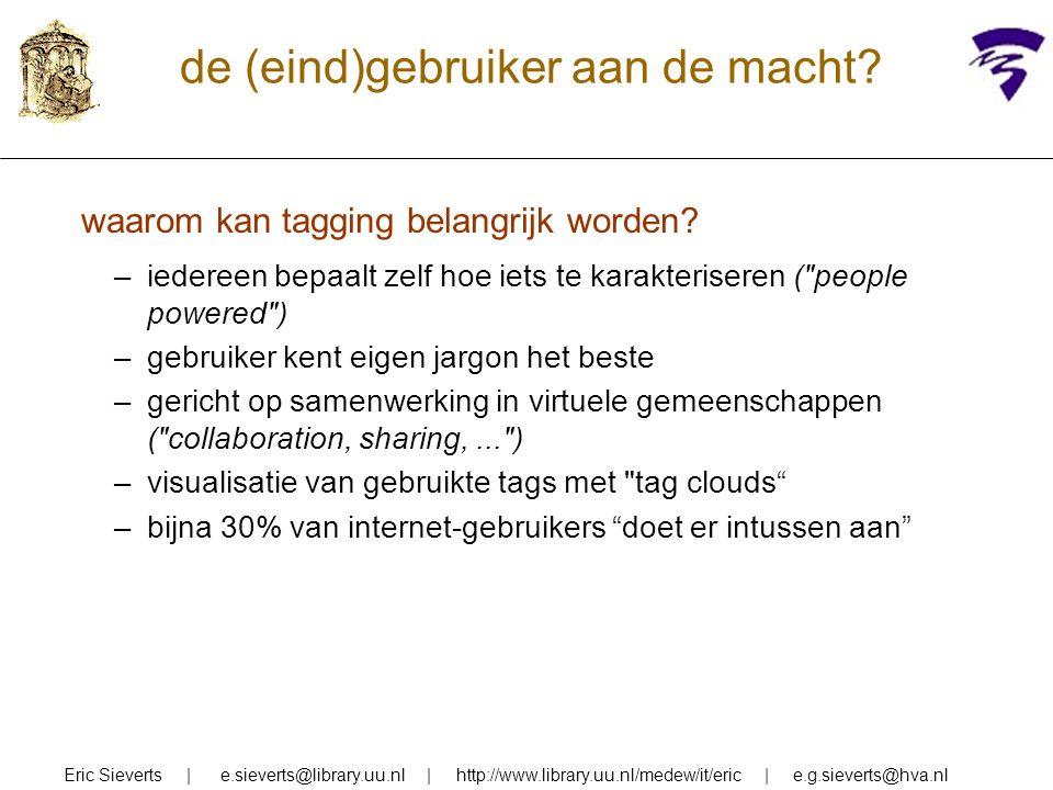relevance ranking factoren Eric Sieverts   e.sieverts@library.uu.nl   http://www.library.uu.nl/medew/it/eric   e.g.sieverts@hva.nl 1.meer termen 2.termen in titel/kop/begin 3.termen herhaald 4.termen dicht bij elkaar 5.termen in volgorde 6.zeldzame termen zwaarder 7.hyperlinks naar document 8.bezoek aan document  meer concepten ge-AND  hoger term-gewicht  juiste verband  belang specifieke term  (kwaliteit) [alleen als er links zijn]  (kwaliteit)