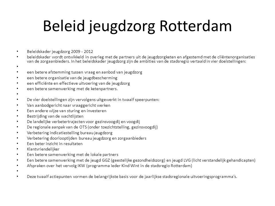 Beleid jeugdzorg Rotterdam Beleidskader jeugdzorg 2009 - 2012 beleidskader wordt ontwikkeld in overleg met de partners uit de jeugdzorgketen en afgestemd met de cliëntenorganisaties van de zorgaanbieders.