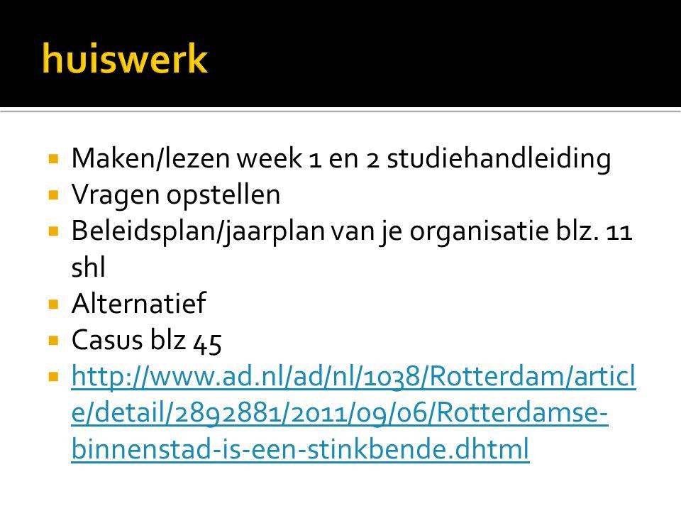  Maken/lezen week 1 en 2 studiehandleiding  Vragen opstellen  Beleidsplan/jaarplan van je organisatie blz.
