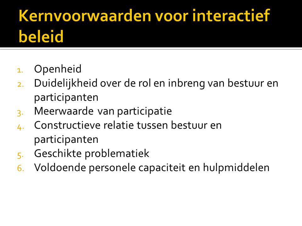 1. Openheid 2. Duidelijkheid over de rol en inbreng van bestuur en participanten 3.