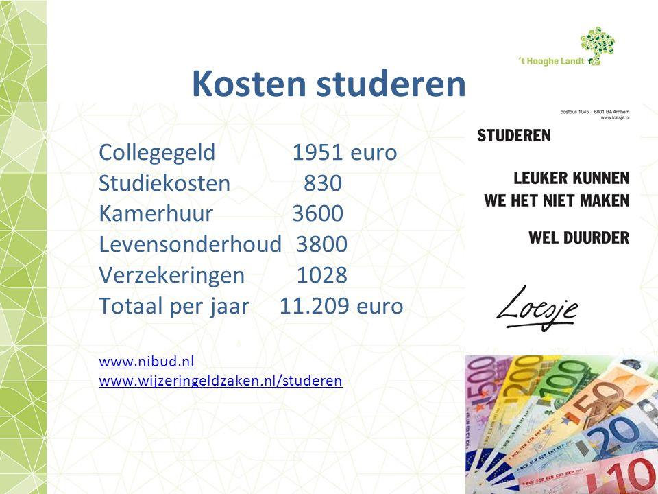 Kosten studeren Collegegeld 1951 euro Studiekosten 830 Kamerhuur 3600 Levensonderhoud3800 Verzekeringen1028 Totaal per jaar 11.209 euro www.nibud.nl www.wijzeringeldzaken.nl/studeren