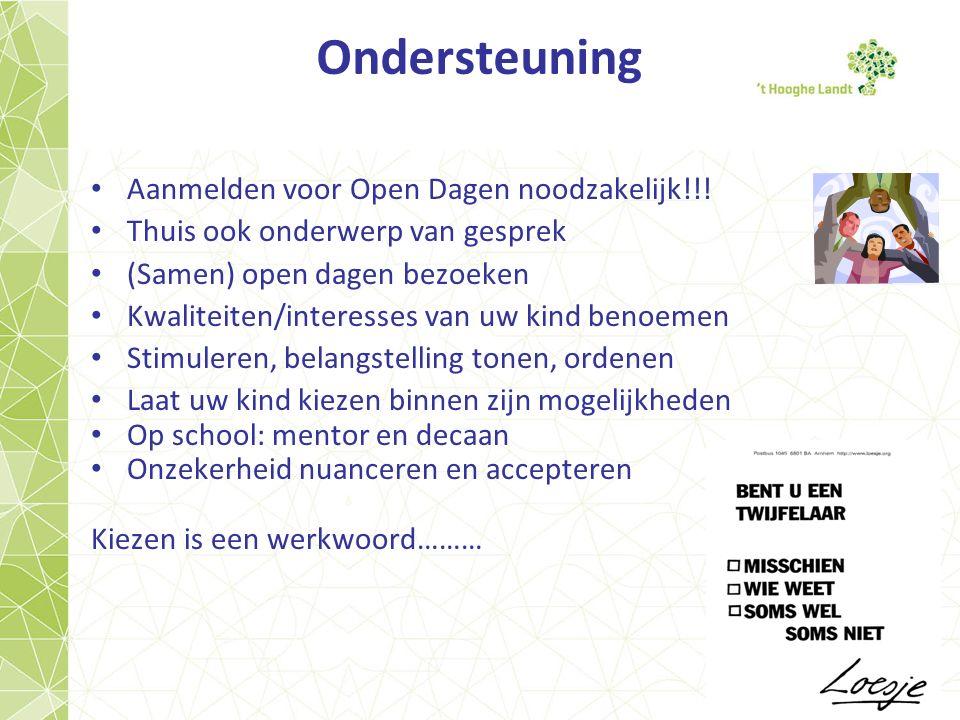 Ondersteuning Aanmelden voor Open Dagen noodzakelijk!!.