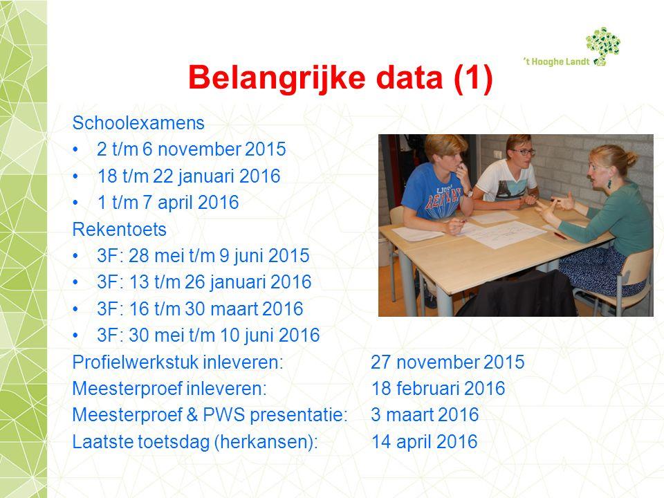 Belangrijke data (1) Schoolexamens 2 t/m 6 november 2015 18 t/m 22 januari 2016 1 t/m 7 april 2016 Rekentoets 3F: 28 mei t/m 9 juni 2015 3F: 13 t/m 26 januari 2016 3F: 16 t/m 30 maart 2016 3F: 30 mei t/m 10 juni 2016 Profielwerkstuk inleveren:27 november 2015 Meesterproef inleveren: 18 februari 2016 Meesterproef & PWS presentatie: 3 maart 2016 Laatste toetsdag (herkansen): 14 april 2016