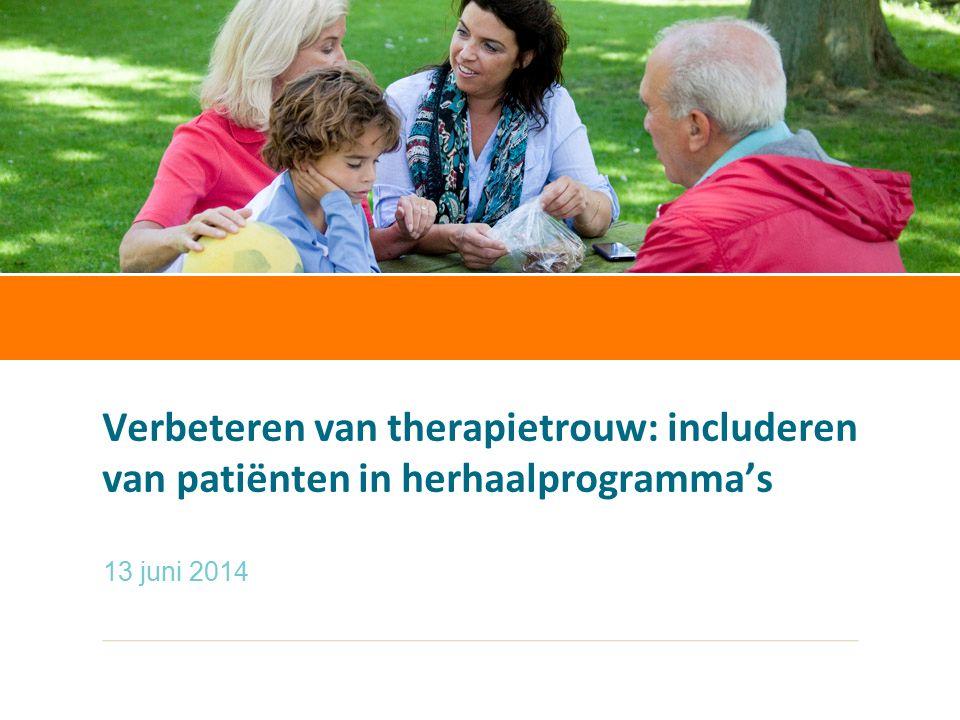 Sandra Schouws20 september 2012 Verbeteren van therapietrouw: includeren van patiënten in herhaalprogramma's 13 juni 2014