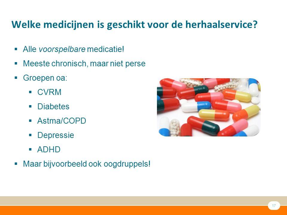 17 Welke medicijnen is geschikt voor de herhaalservice?  Alle voorspelbare medicatie!  Meeste chronisch, maar niet perse  Groepen oa:  CVRM  Diab