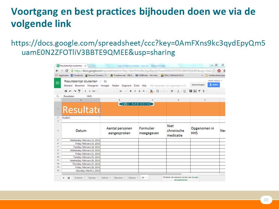 22 Voortgang en best practices bijhouden doen we via de volgende link https://docs.google.com/spreadsheet/ccc?key=0AmFXns9kc3qydEpyQm5 uamE0N2ZFOTliV3