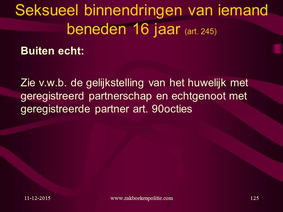 11-12-2015www.zakboekenpolitie.com125 Seksueel binnendringen van iemand beneden 16 jaar (art.