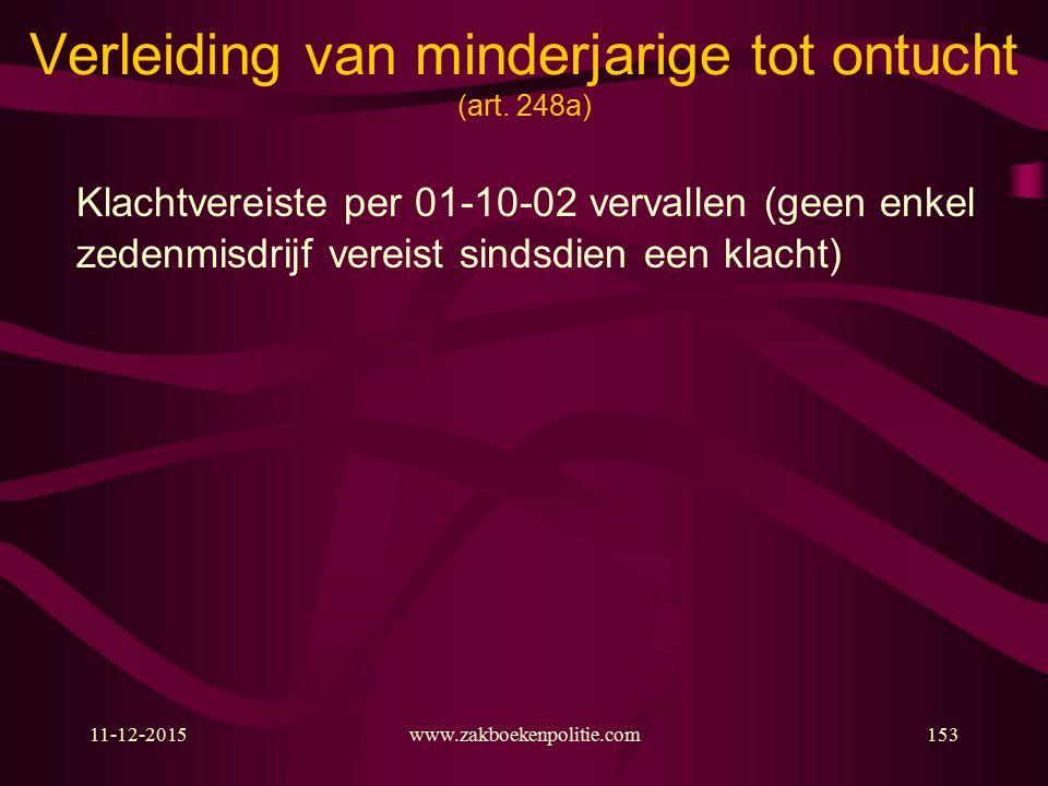 11-12-2015www.zakboekenpolitie.com153 Verleiding van minderjarige tot ontucht (art.