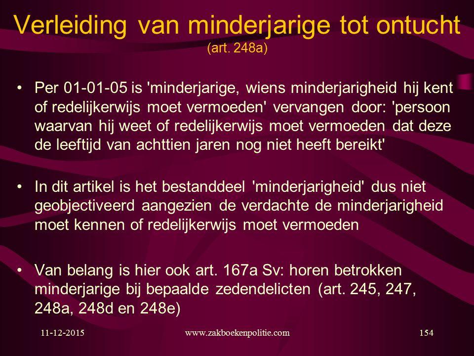 11-12-2015www.zakboekenpolitie.com154 Verleiding van minderjarige tot ontucht (art.