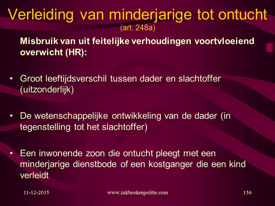 11-12-2015www.zakboekenpolitie.com156 Verleiding van minderjarige tot ontucht (art.