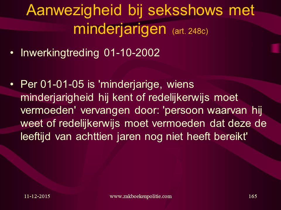 11-12-2015www.zakboekenpolitie.com165 Aanwezigheid bij seksshows met minderjarigen (art.