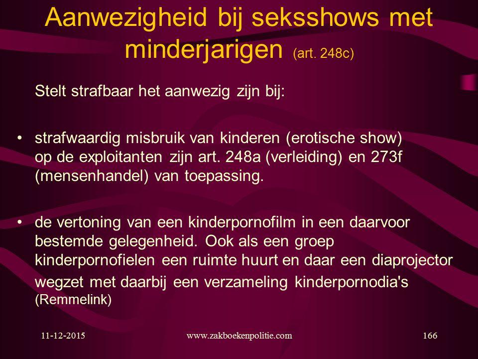 11-12-2015www.zakboekenpolitie.com166 Aanwezigheid bij seksshows met minderjarigen (art.