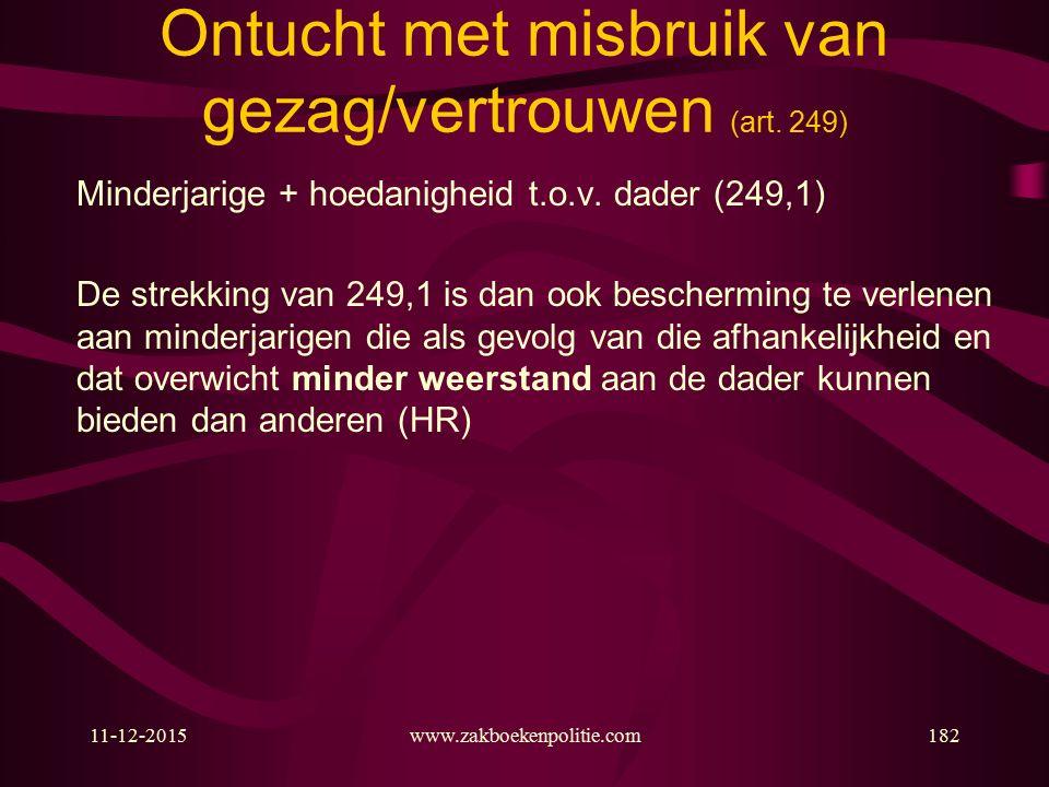 11-12-2015www.zakboekenpolitie.com182 Ontucht met misbruik van gezag/vertrouwen (art.
